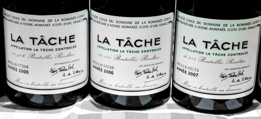 DRC La Tâche labels from 2005, 2006 and 2007. (Source)