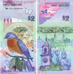 The vertical $2 Bermuda banknote shows a bluebird perched on a branch, against a backdrop of flowers, butterflies and a boat sailing off across the horizon.