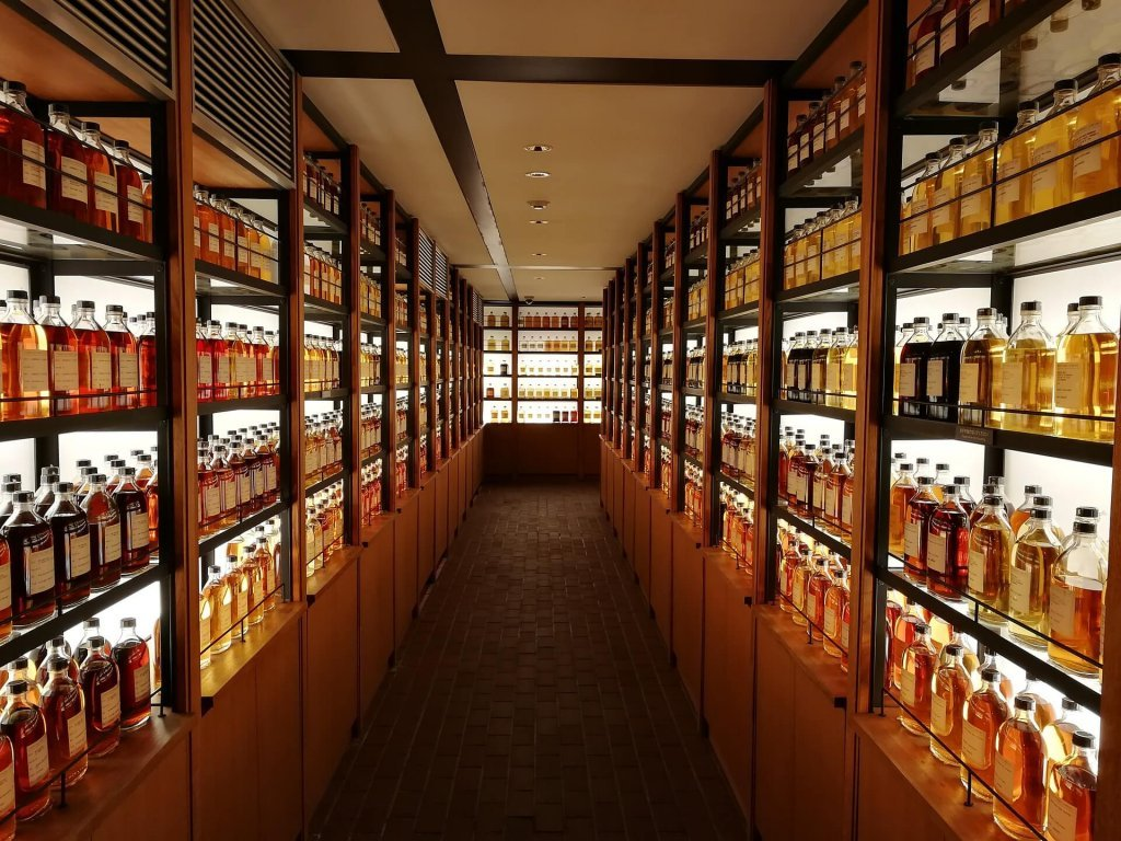 Whiskey bottles in shelves