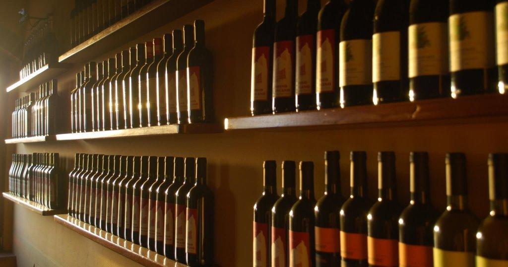 Wines on shelves