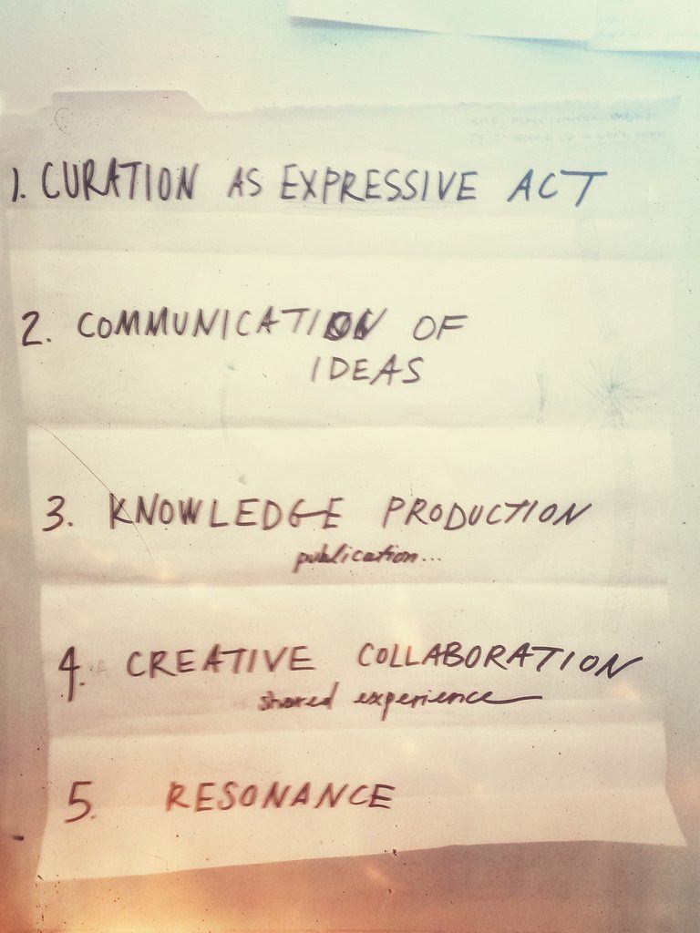 Principles of Curation, written by participants of the Beautiful Data workshop at Harvard. Photograph by Neal Stimler.