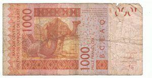 Franc CFA Crisis: A 1000 francs CFA banknote