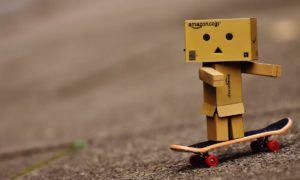 Danbo composed of Amazon boxes