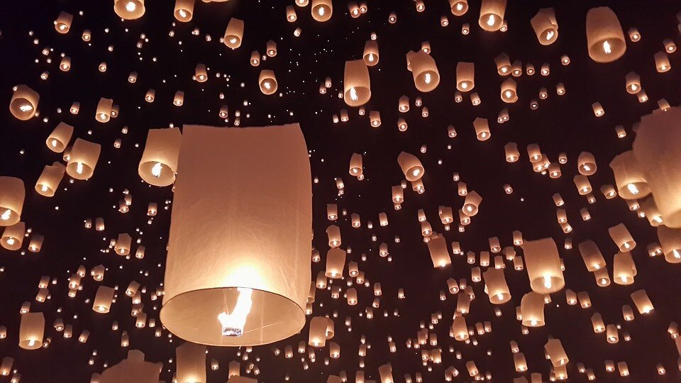 Paper lanterns.