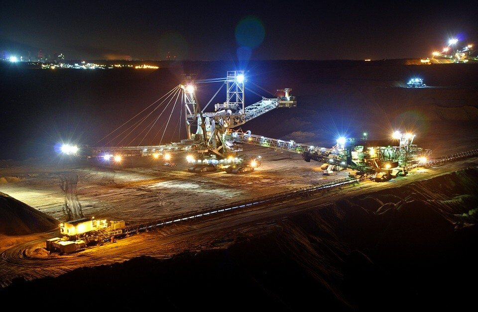 open pit mining at night