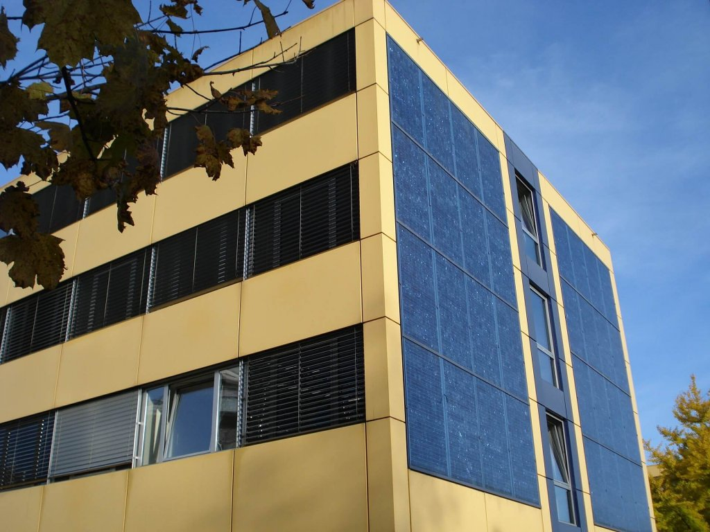 Solar panel on building eco-friendly workspaces