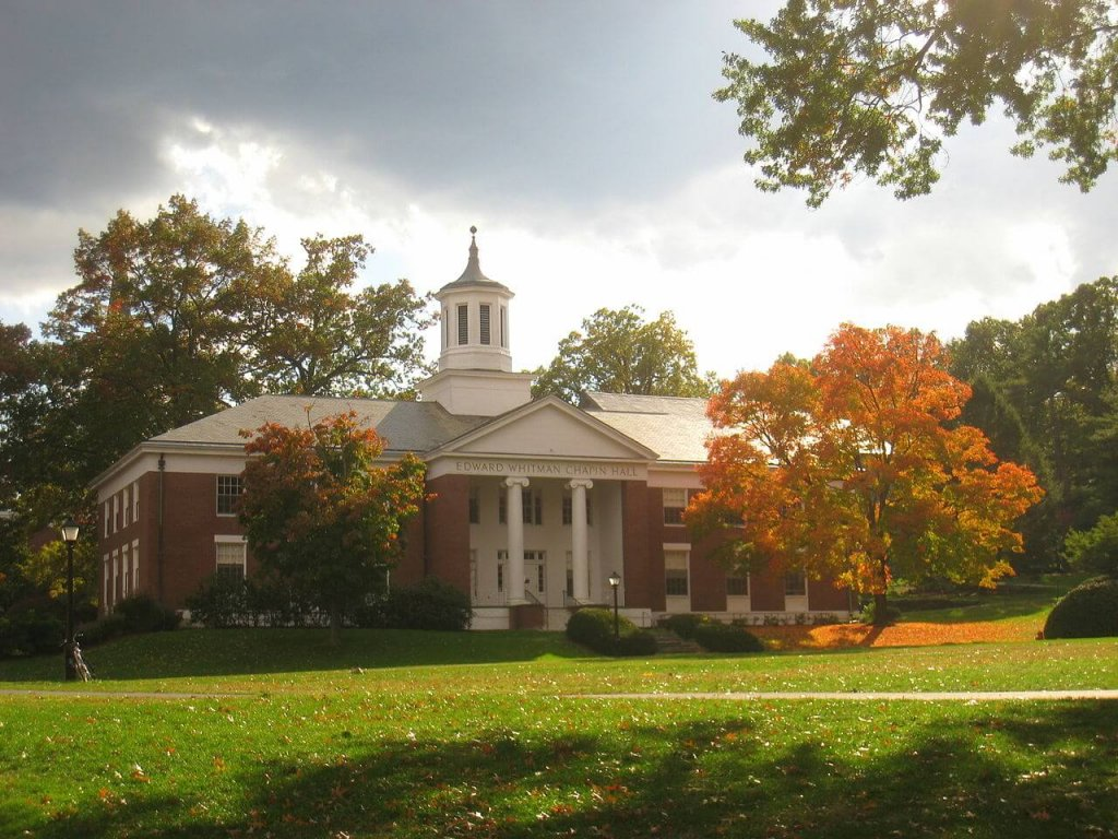 The Edward Whitman Chapin Hall in Amherst College, most diverse universities in the U.S.