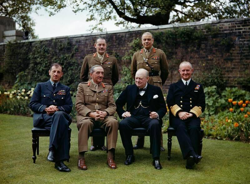 Winston Churchill with his Chiefs of Staff