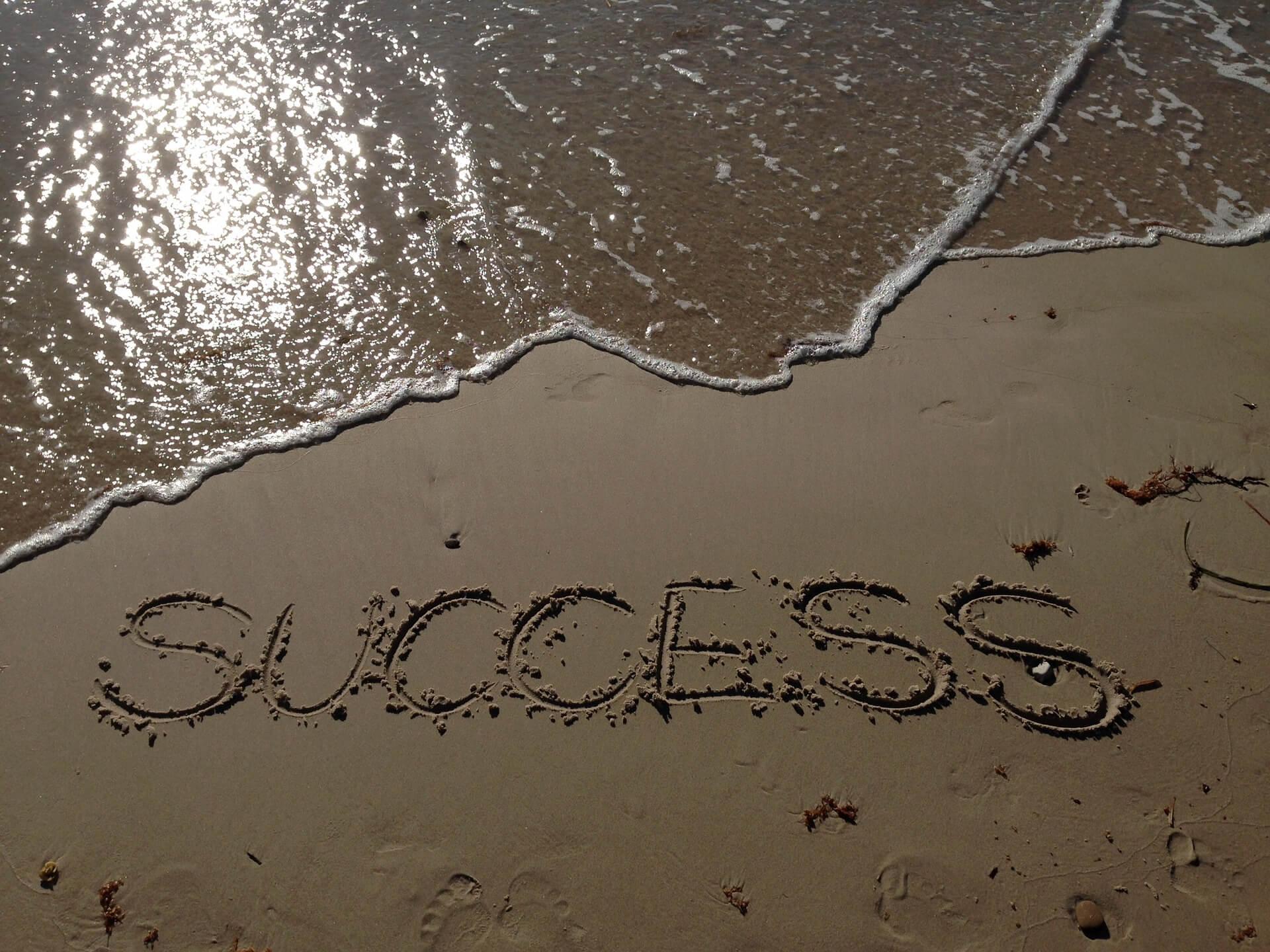 Success written on sand