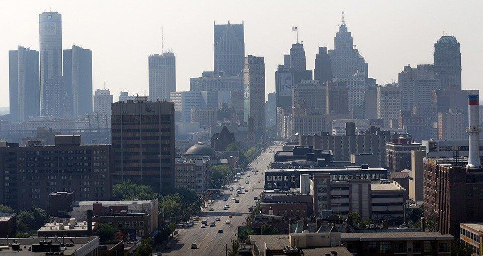 Detroit buildings.