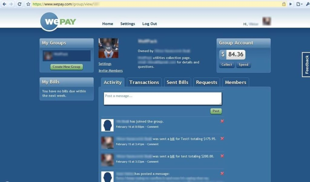 WePay user interface, cashless society