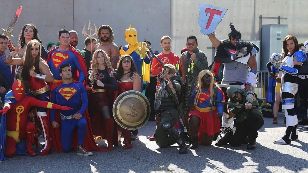 Justice League cosplayers.