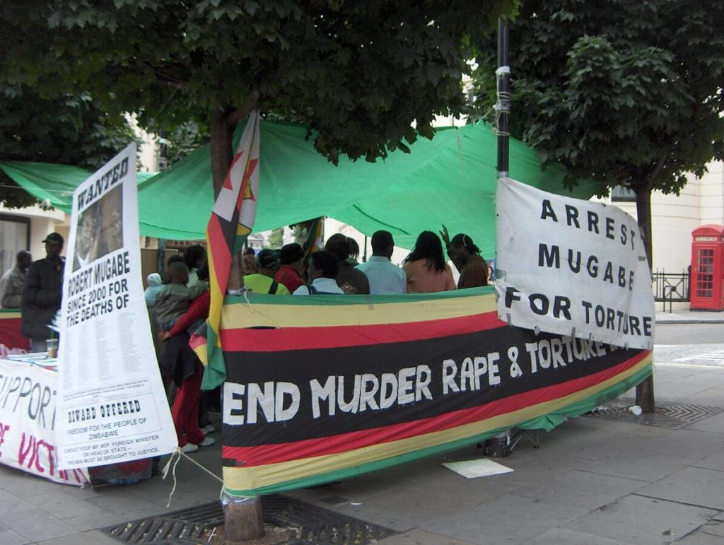 Protests against Robert Mugabe.
