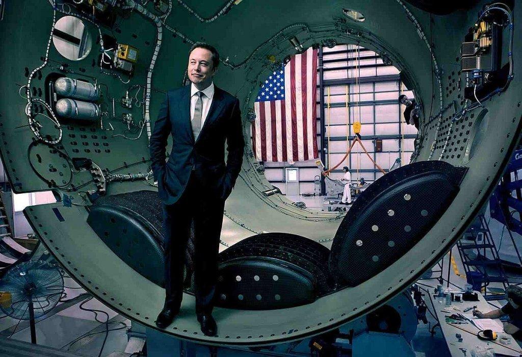Elon Musk inside a rocket.