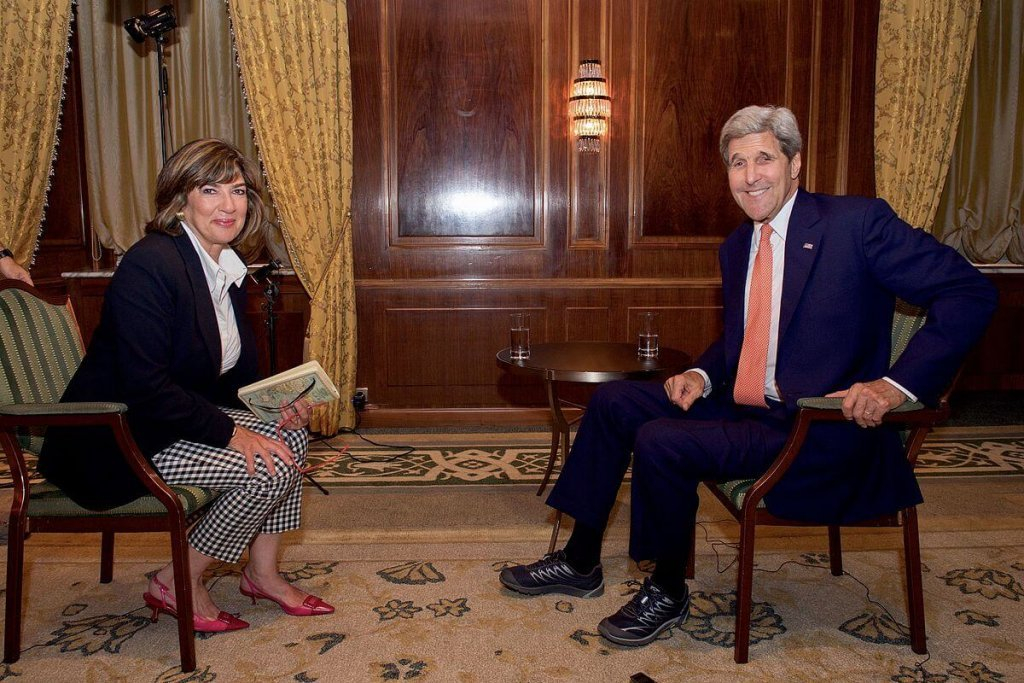 Christiane Amanpour with John Kerry.
