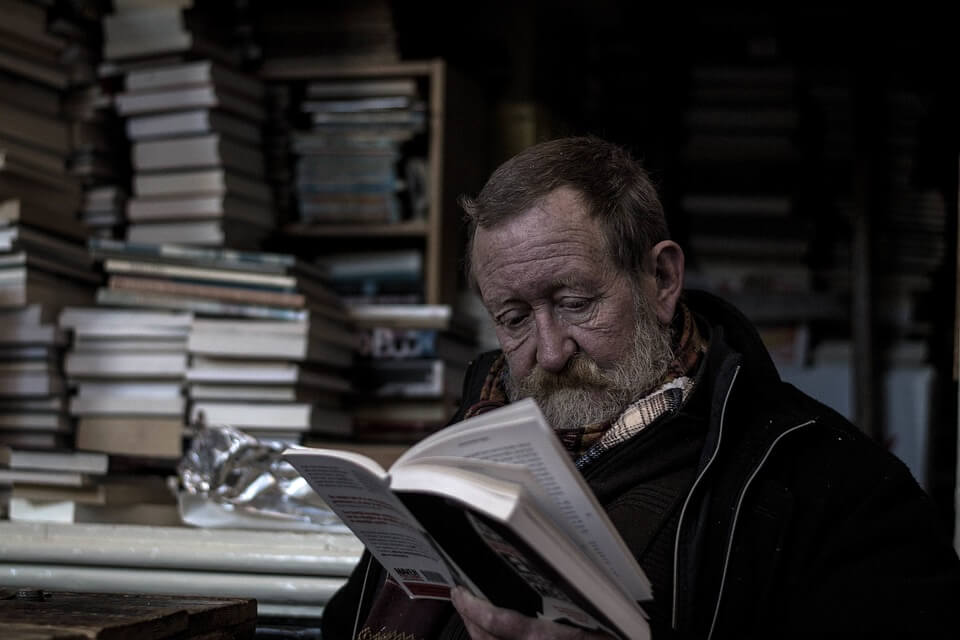 A man is reading.