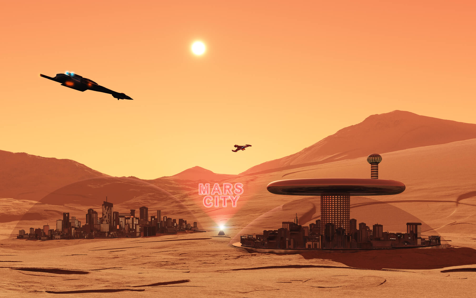 An artist's depiction of Mars City.