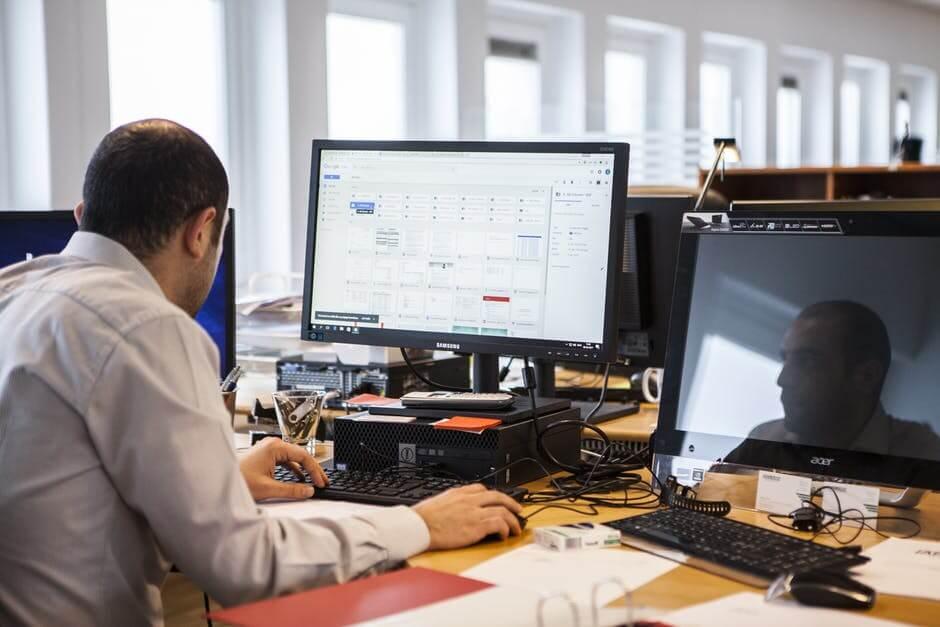 Computer engineer doing work.