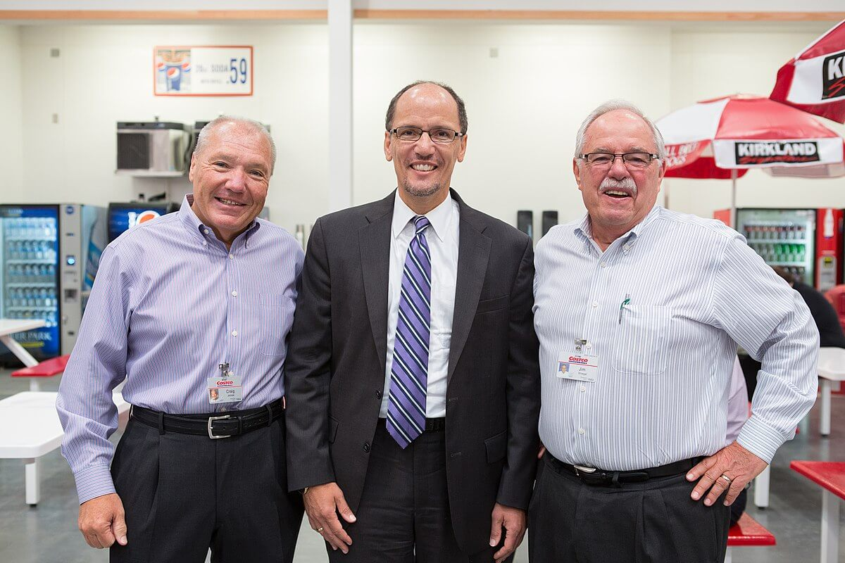 Craig Jelinek with Jim Sinegal and Secretary of Labor Thomas Perez.