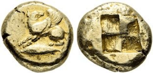 Electrum Stater – Kyzikos, Mysia c. 550-450 B.C. (Source: www.forumancientcoins.com)