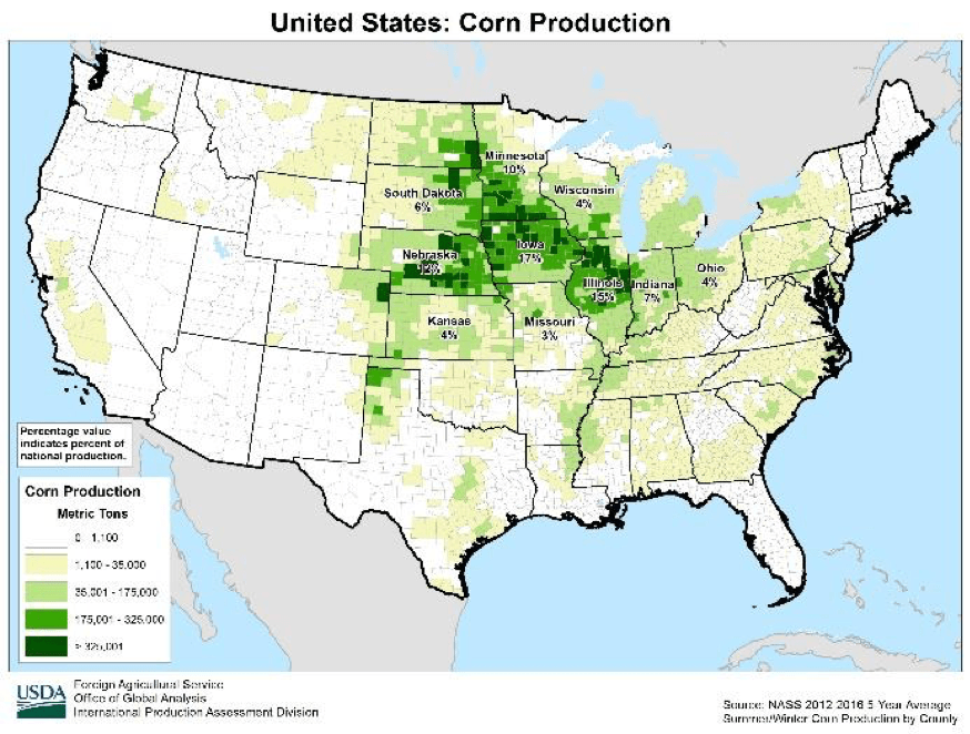 The nation's Corn Belt, if faced with similar heat as last year, may have a very different struggle if timely rains are missed. Also reminiscent of last year is how dry southern IA remains from last year's dryness and accounts for 3% of the national corn production. Northern Missouri, non-irrigated Nebraska and Kansas all remain in severe conditions. © Brian Grossman