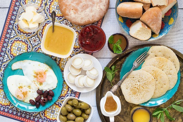 Guests dining in Fez were greeted with a lovely breakfast spread of various soups, homemade breads and cheeses.