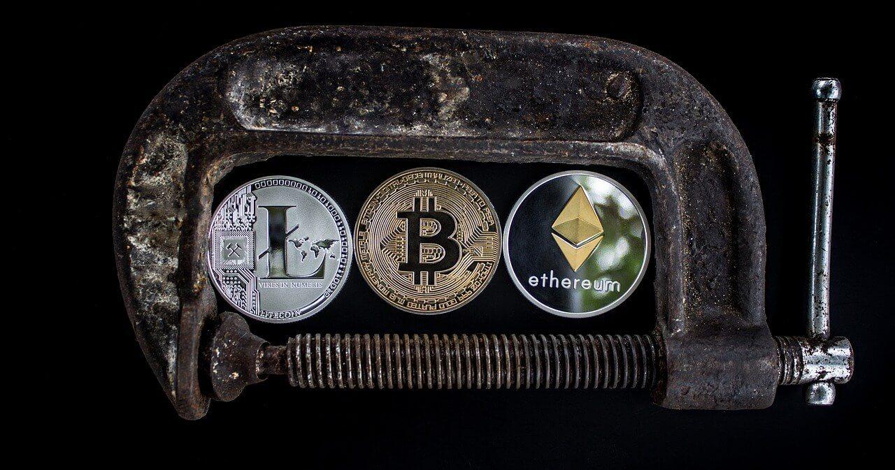 litecoin, bitcoin, ethereum coins