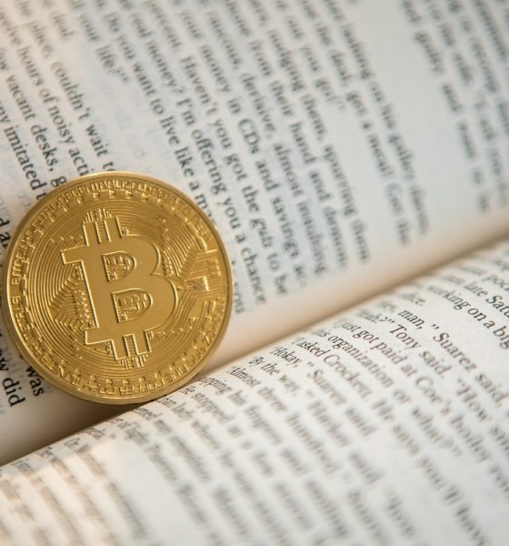 This picture show a bitcoin inside a book.
