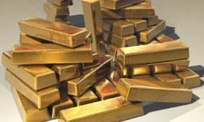 This picture show a couple of gold ingots.
