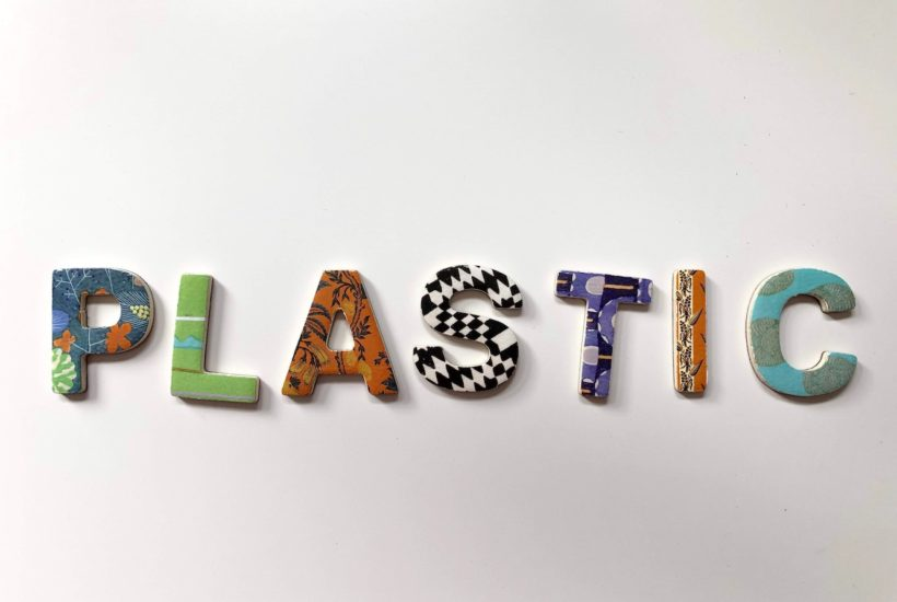 This picture show the word plastic on a wall.