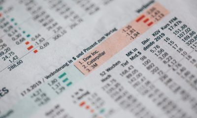 This picture show a paper with stock market data.