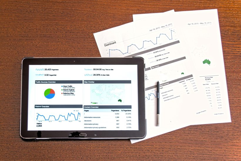 This picture show a tablet with some investment data.