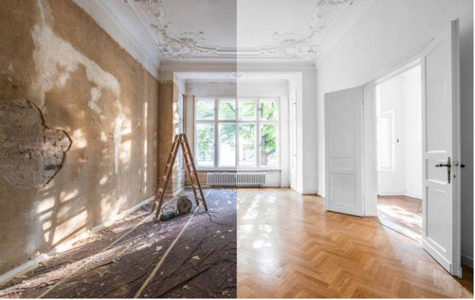 This picture show an apartment renovation in Europe.