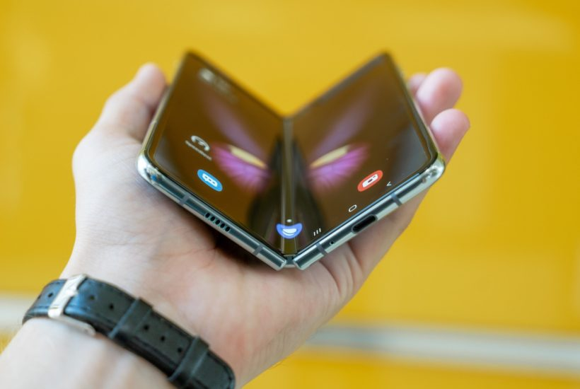 This picture show a foldable cellphone.