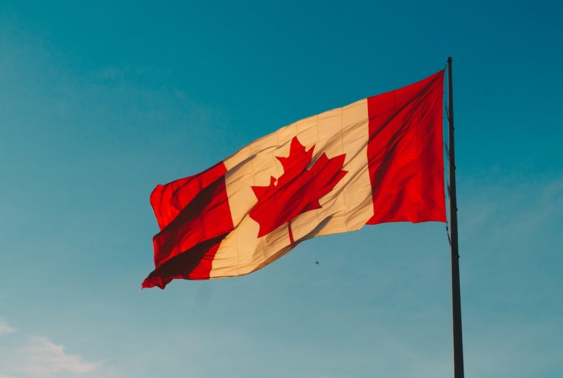 This picture show Canada's flag weaving.