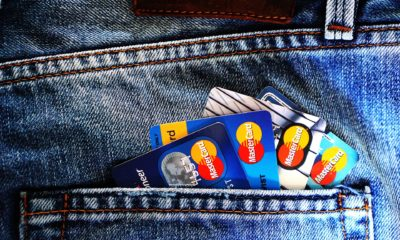 This picture show a couple of credit cards on a pocket.