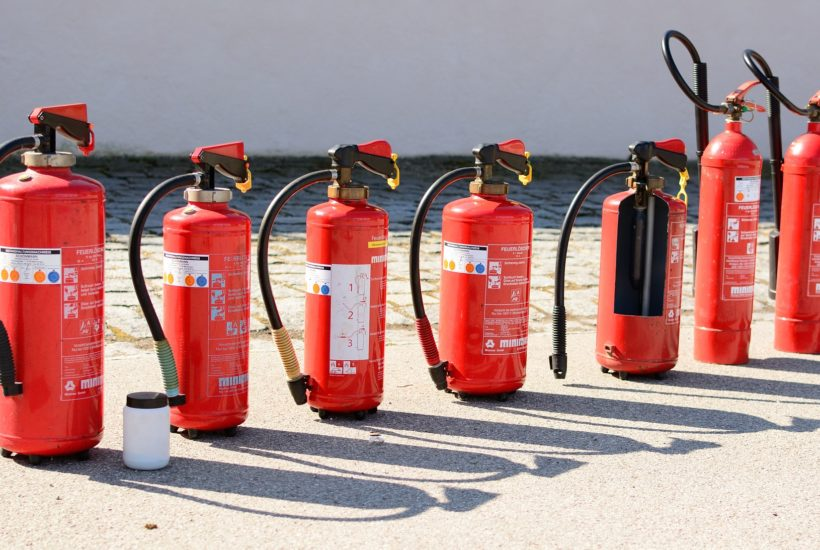 This picture show many fire extinguishers.