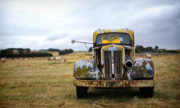 This picture show an old car and represent the transition between that and the new solar trucks.