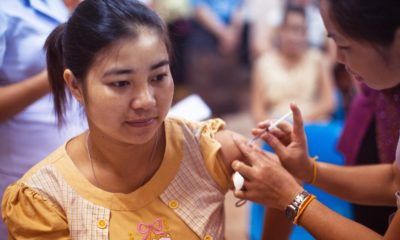 This picture show a person receiving a vaccine.