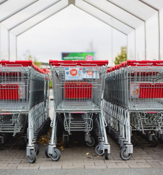 This picture shows some supermarket carts.