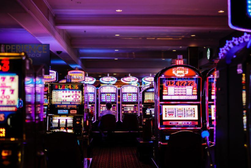 This picture show some gambling machines in a casino.