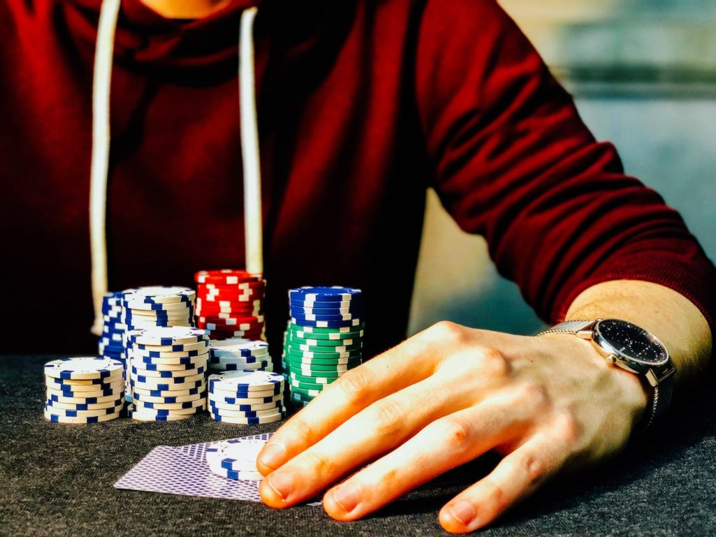 This picture show a person gambling.