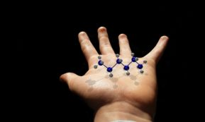 This picture show a person holding a molecule.
