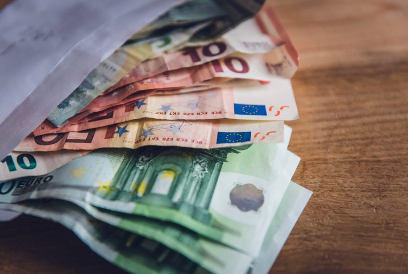 This picture show a couple of euro bills.