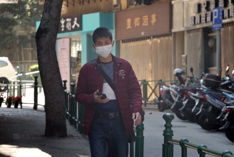 This picture show a person wearing a face mask.