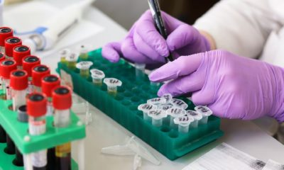 This picture show a person doing some test in a laboratory.