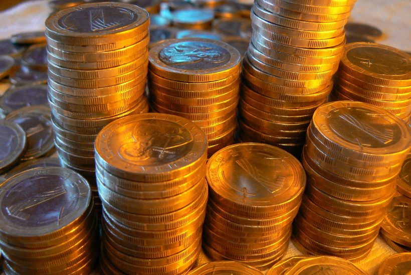 This picture show a pile of euro coins.