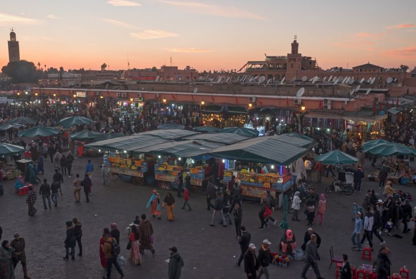 This picture show a market in Morocco.