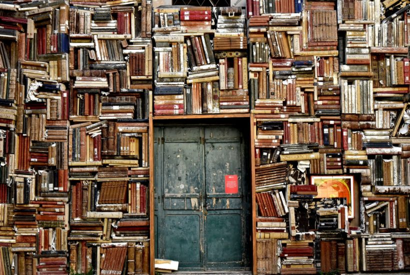 This picture show hundred of books and a door.