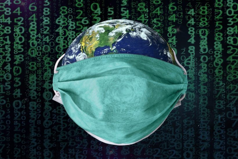 This picture show planet earth with a face mask.